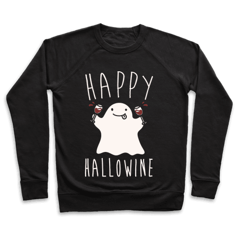 Happy Hallowine White Print Pullover