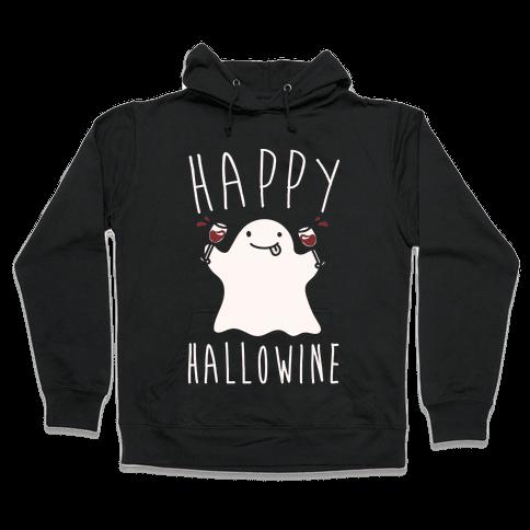 Happy Hallowine White Print Hooded Sweatshirt