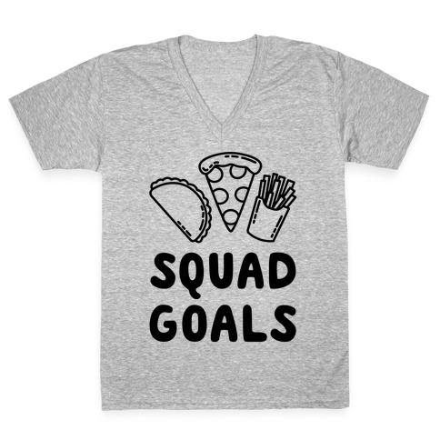 Junk Food Squad Goals V-Neck Tee Shirt