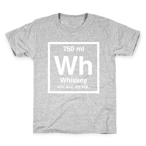 Whiskey Element (Periodic Alcohol) (White Ink) Kids T-Shirt