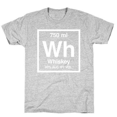Whiskey Element (Periodic Alcohol) (White Ink) Mens T-Shirt