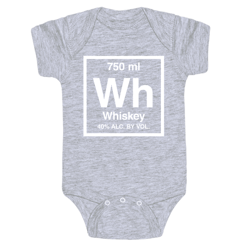 Whiskey Element (Periodic Alcohol) (White Ink) Baby Onesy