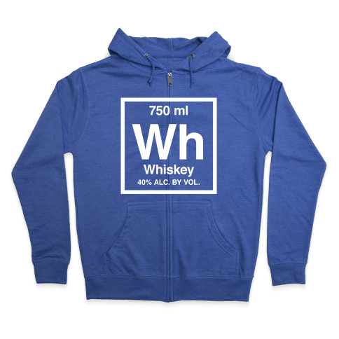 Whiskey Element (Periodic Alcohol) (White Ink) Zip Hoodie