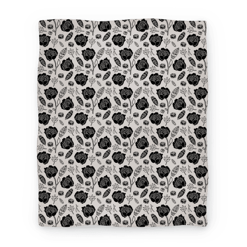 Floral and Leaves Pattern (Gray) Blanket