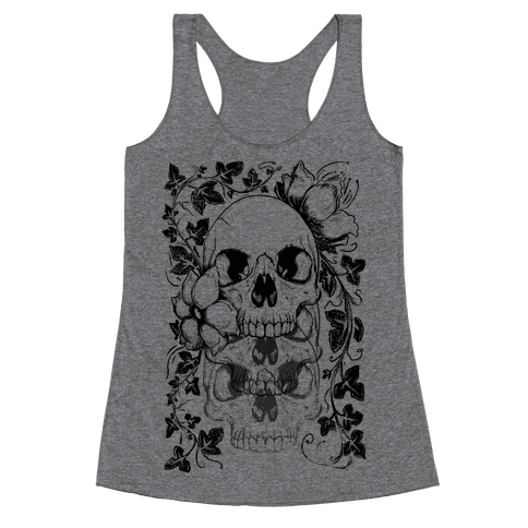 Skull of Vines and Flowers Racerback Tank Top