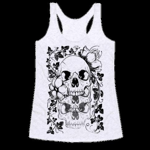 Skull of Vines and Flowers Racerback Tank Top
