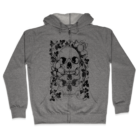 Skull of Vines and Flowers Zip Hoodie