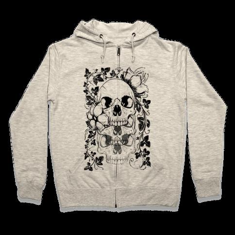 Skull of Vines and Flowers Zip Hoodie