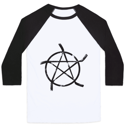 Hockey Stick Pentagram Baseball Tee