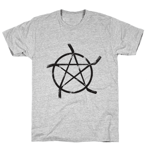 Hockey Stick Pentagram Mens T-Shirt