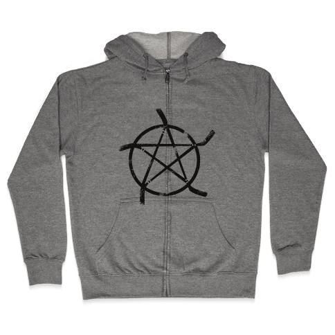 Hockey Stick Pentagram Zip Hoodie