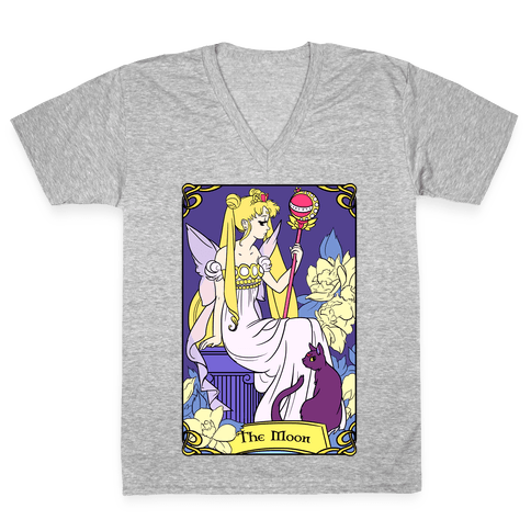 The Moon Tarot V-Neck Tee Shirt