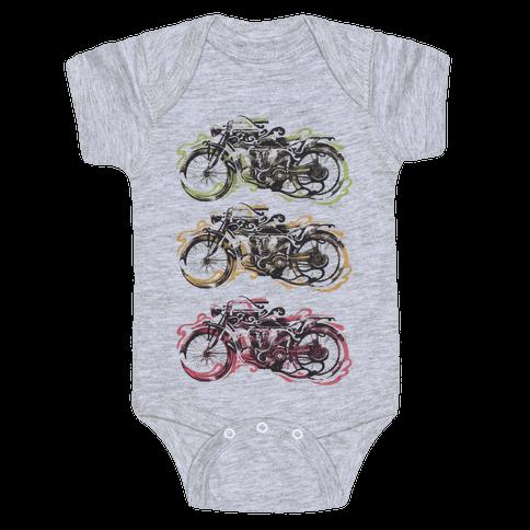 Vintage Motorbike Baby Onesy