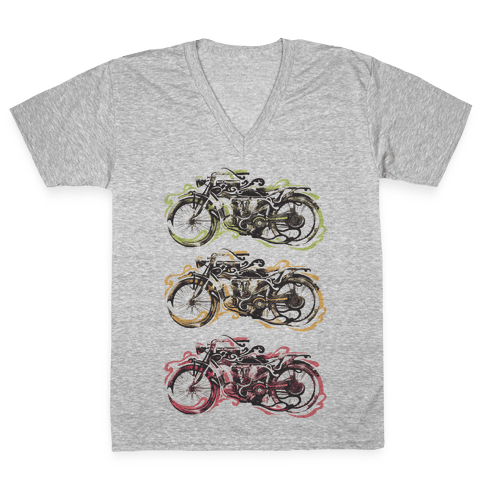 Vintage Motorbike V-Neck Tee Shirt
