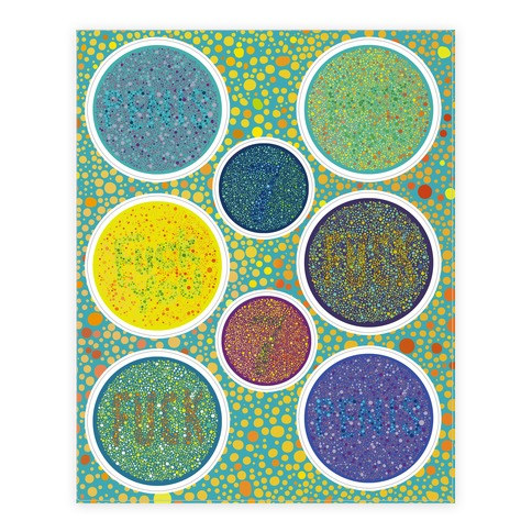 Color Blind Test Sticker and Decal Sheet