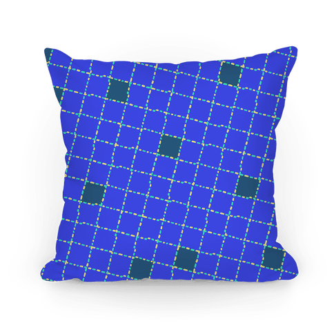 Blue Dashed Checkers Pattern Pillow