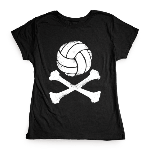 Volleyball and Crossbones (White Vintage) Womens T-Shirt