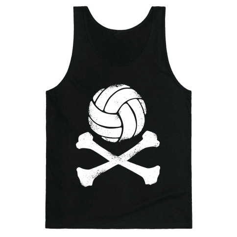 Volleyball and Crossbones (White Vintage) Tank Top