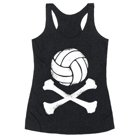 Volleyball and Crossbones (White Vintage) Racerback Tank Top
