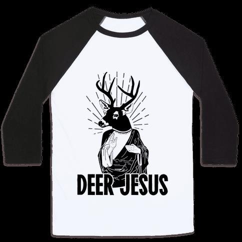 Deer Jesus Baseball Tee
