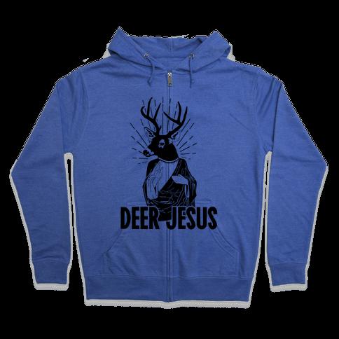 Deer Jesus Zip Hoodie