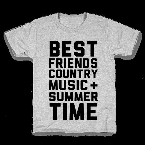 Best Friends, Country Music + Summer Time Kids T-Shirt