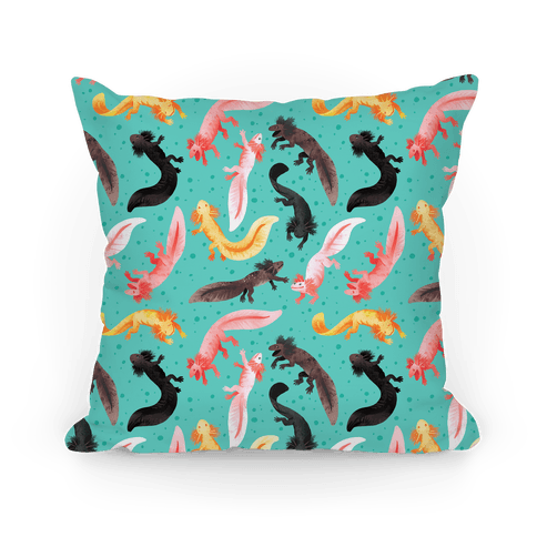 Cute Bright Axolotl Pattern Pillow