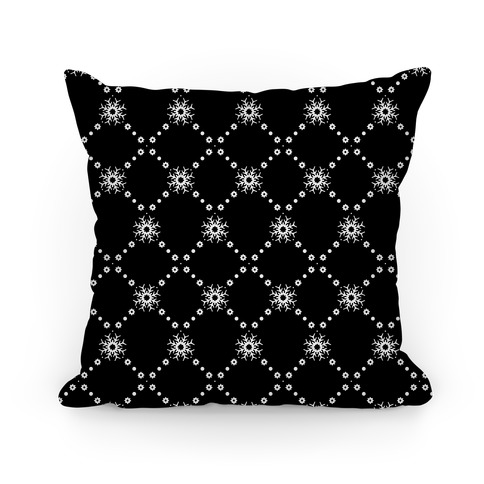 Black and White Snowflake Pattern Pillow