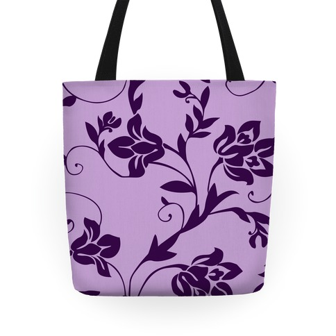 Purple Floral Pattern Tote