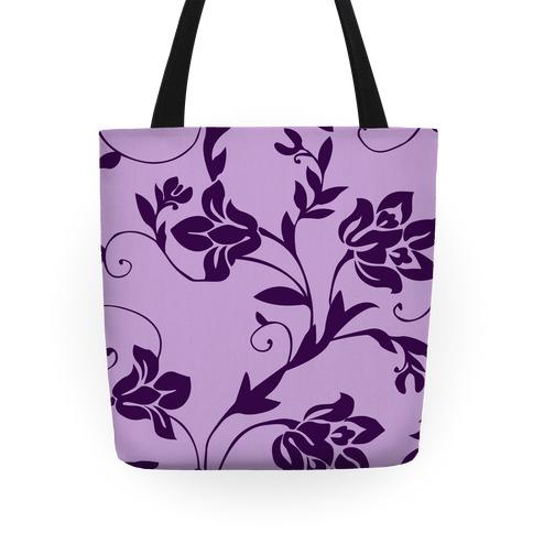 Purple Floral Pattern Tote