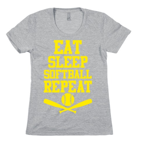 Eat Sleep Softball Repeat Womens T-Shirt