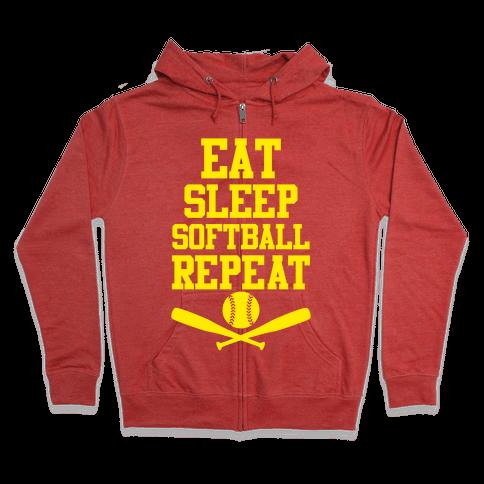 Eat Sleep Softball Repeat Zip Hoodie
