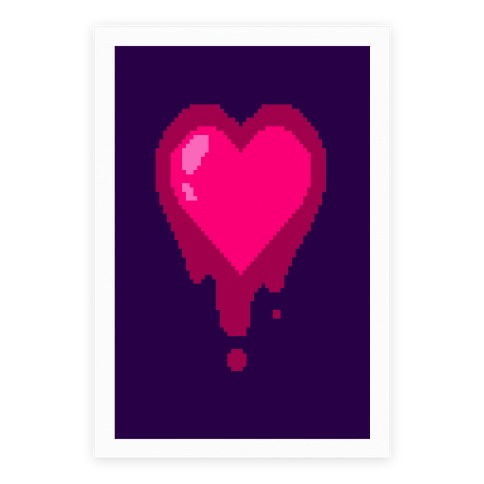 Bleeding Pixel Heart Poster
