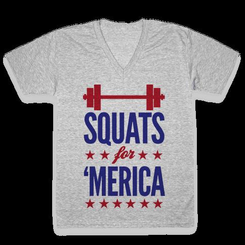 """Squats For """"Merica V-Neck Tee Shirt"""