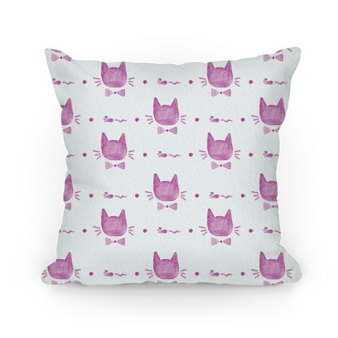 Pink Watercolor Cat Bow Tie Pattern Pillow