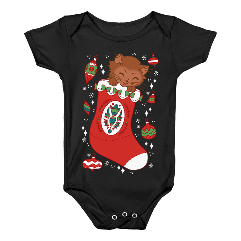 Vintage Cat In A Stocking Baby Onesy