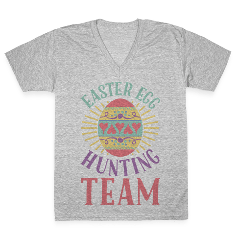 Easter Egg Hunting Team V-Neck Tee Shirt