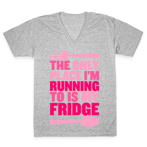 Running to My Fridge V-Neck Tee Shirt