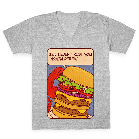 Burger Pop Art Comic Panel V-Neck Tee Shirt