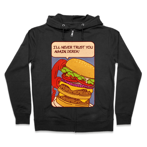 Burger Pop Art Comic Panel Zip Hoodie