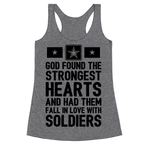 God Found The Strongest Hearts (Army) Racerback Tank Top