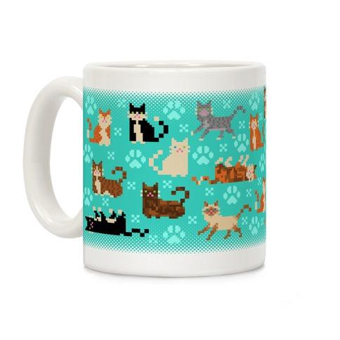 Cute Pixel Kitty Cats Coffee Mug