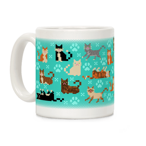 Cute Pixel Kitty Cats Coffee Mug