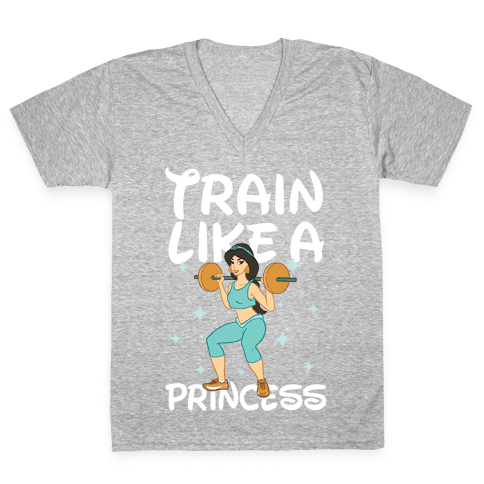 Train Like a Princess (light) V-Neck Tee Shirt