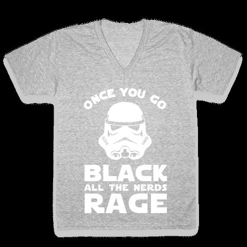 Once You Go Black the Nerds Rage V-Neck Tee Shirt