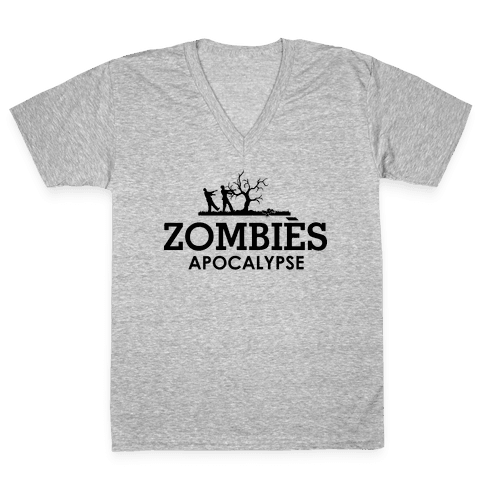 Zombies High Fashion Parody V-Neck Tee Shirt