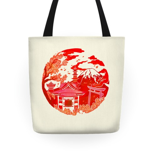 Japan's Mount Fuji and Shinto Shrines Inside the Rising Sun Tote