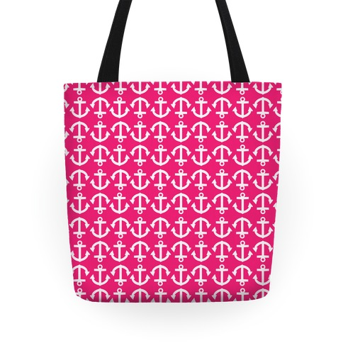 Anchor Pattern Pink Tote