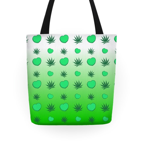 Weed and Hearts Green Ombre Pattern Tote