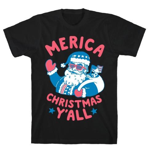 Merica Christmas Y'all Mens T-Shirt
